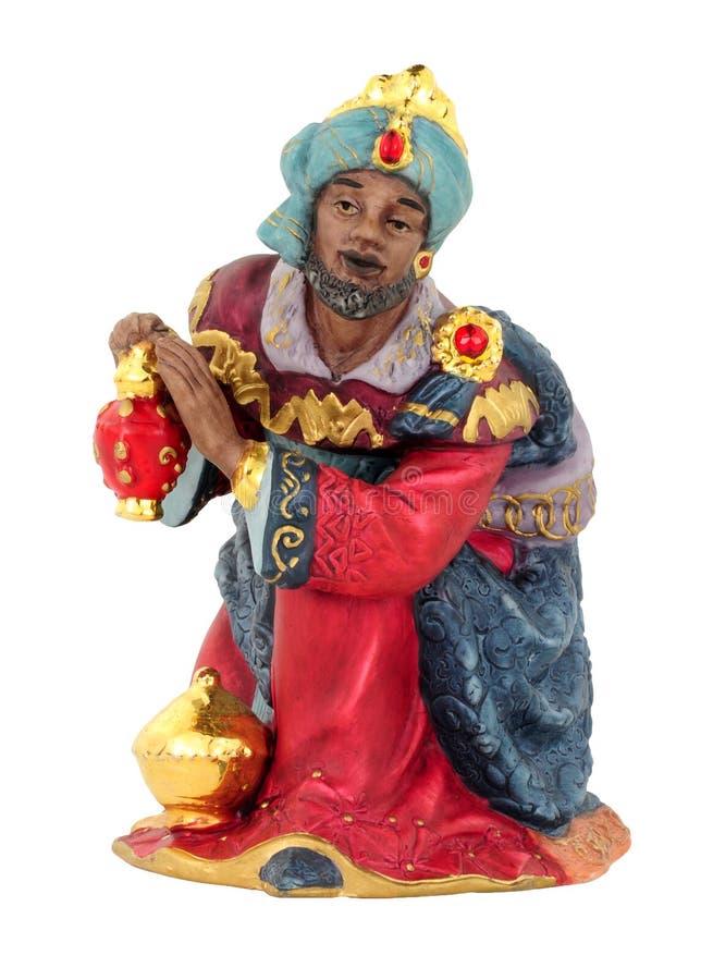De Koning Figure Kneeling van de Kerstmisgeboorte van christus stock afbeelding