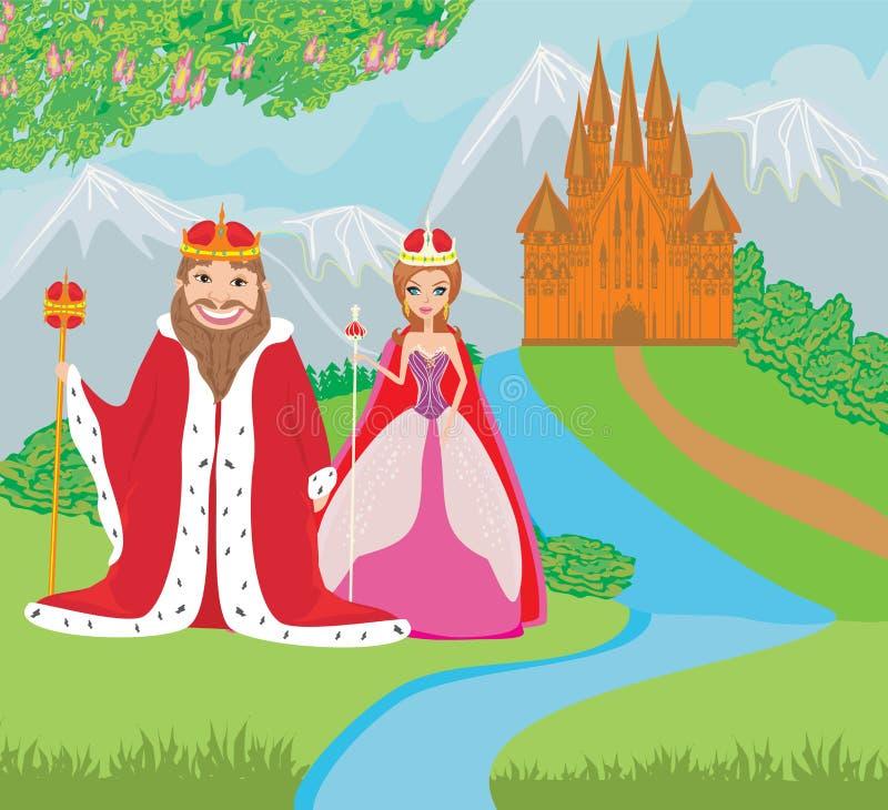 De koningin en de koning zijn voor het kasteel royalty-vrije illustratie