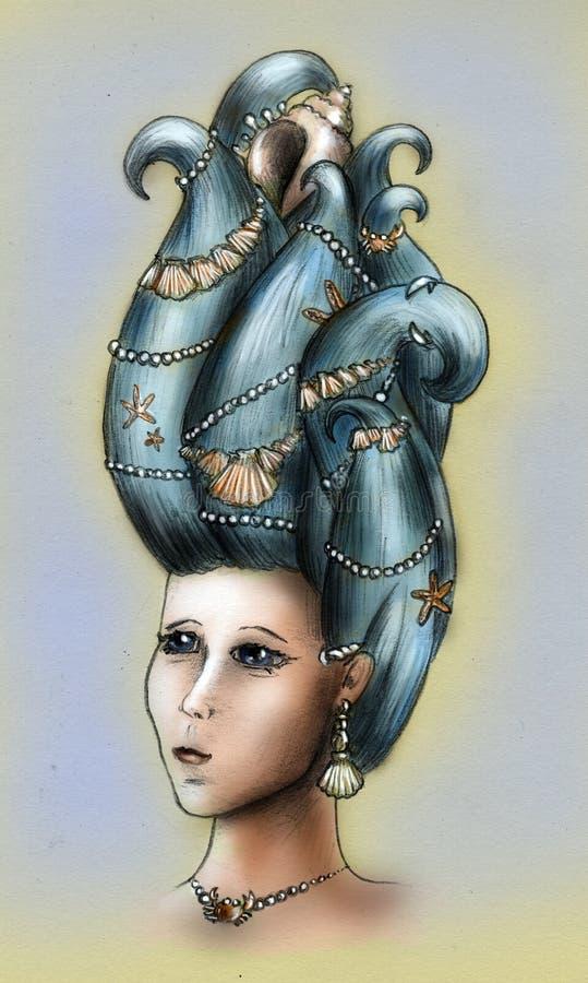 De koningin van de meermin - kleur royalty-vrije illustratie