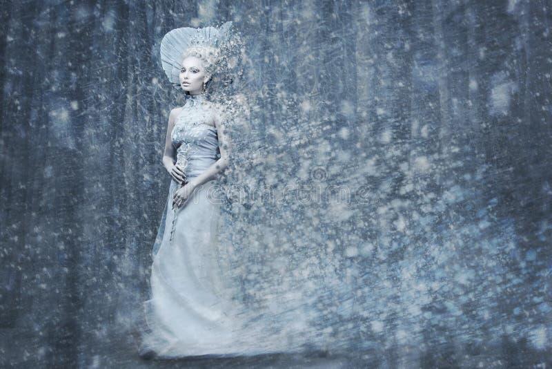 De koningin van de sprookjesneeuw in magische het meest forrest stock foto's