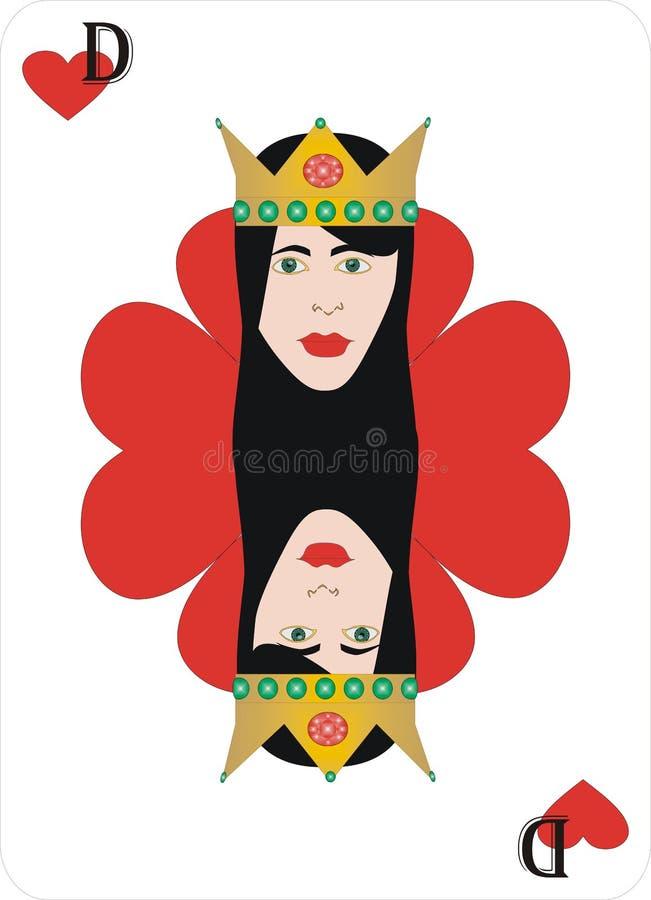 De Koningin van het speelkaartenhart voor rummy en Cassino vector illustratie