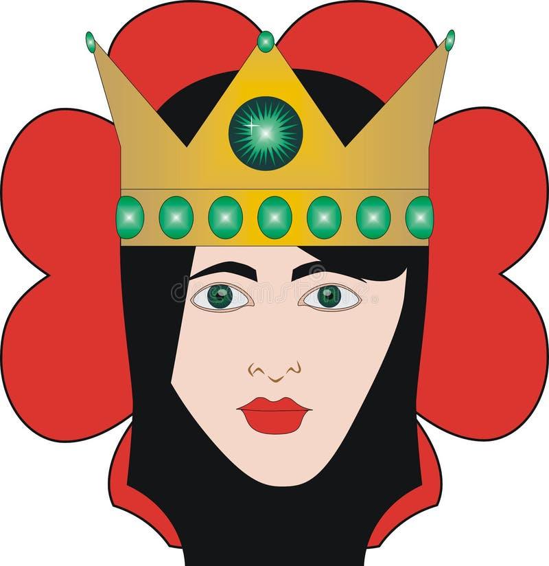 De Koningin van het speelkaartenhart voor rummy en Cassino stock illustratie