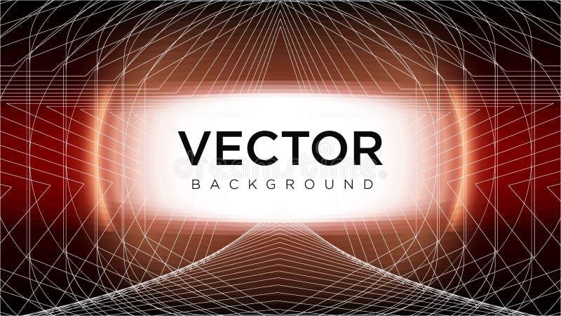 De koninklijke Achtergrond van het Fantasie Vector Geometrische Vectorpatroon van Lijnkunst en één of ander Oranje Zeldzaam Lens  stock afbeelding