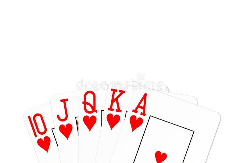 De koninklijke die vloed van de pookhand in harten op witte achtergrond wordt geïsoleerd vector illustratie