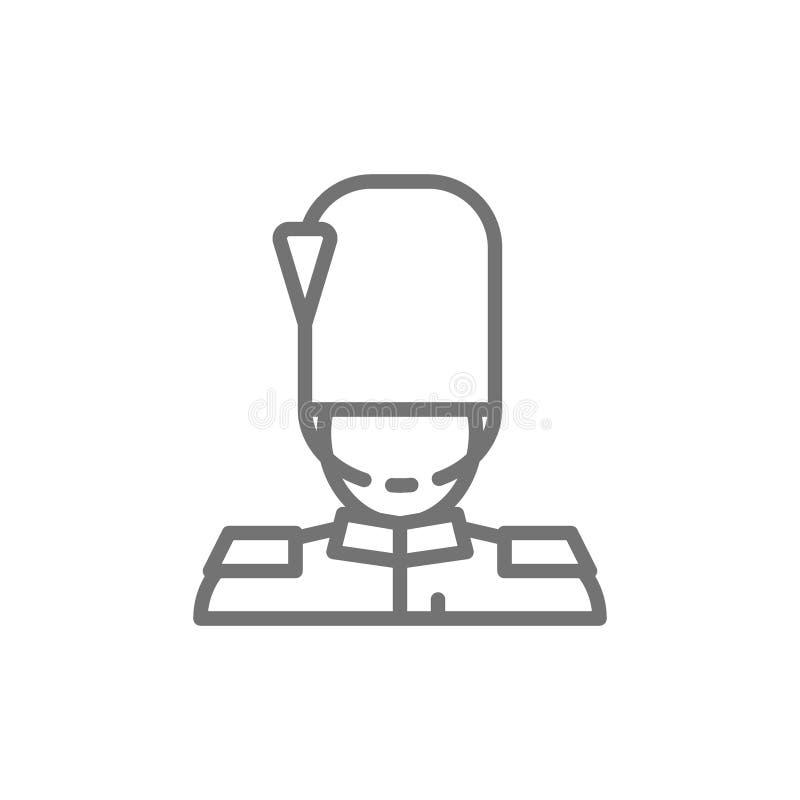 De koninklijke wacht van Engeland, gardesoldaat, het pictogram van de militairlijn vector illustratie