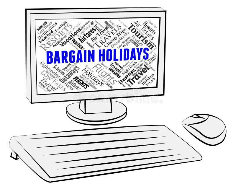De koopjesvakantie toont de Kortingen en de Computer van PC vector illustratie