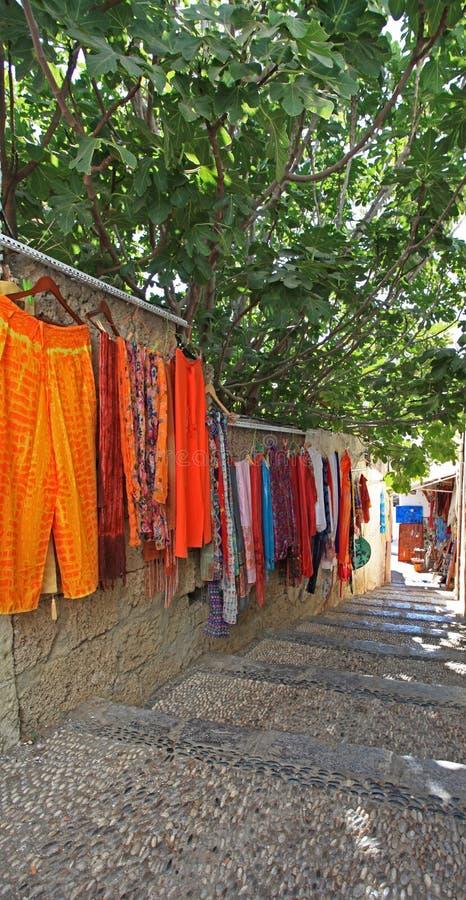 De koopwaar Rhodos Griekenland van Lindos stock foto