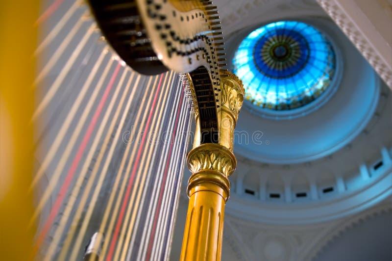 De koorden van de harp sluiten omhoog stock afbeeldingen