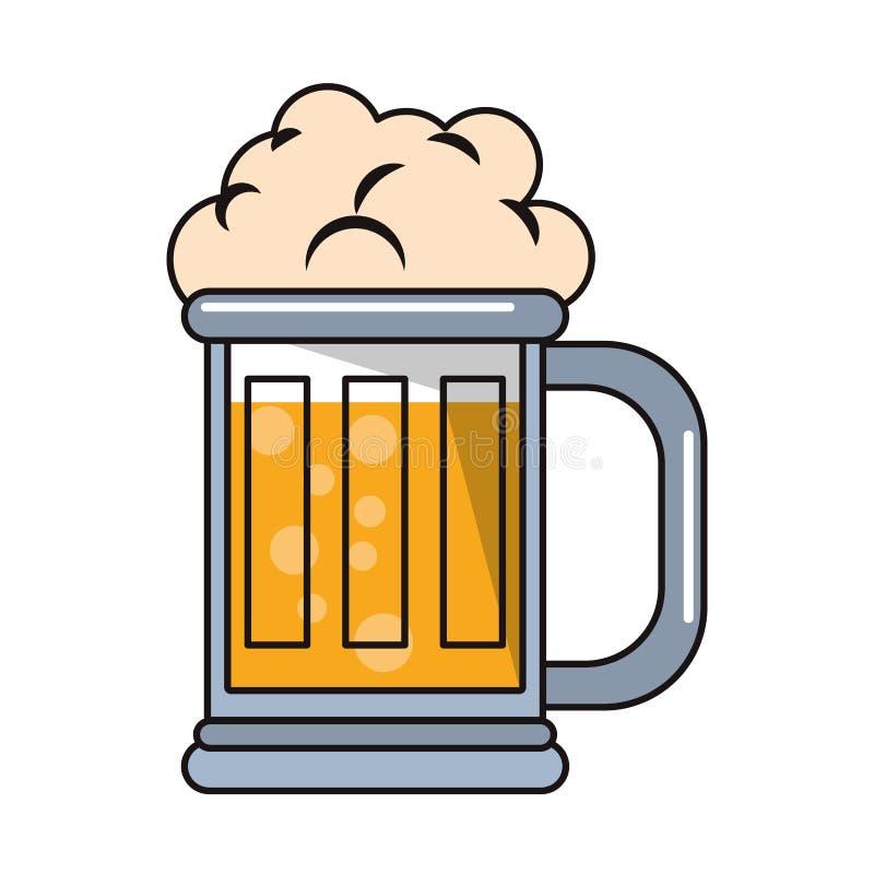 De kop alcoholisch drank ge?soleerd beeldverhaal van het bierglas royalty-vrije illustratie