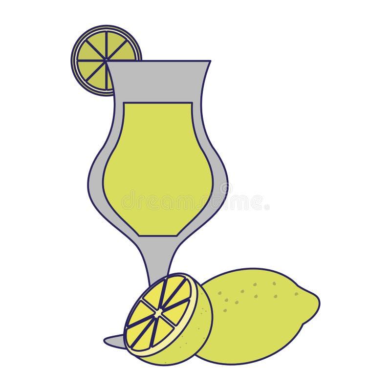 De kop blauwe lijnen van het limonade natuurlijke sap stock illustratie