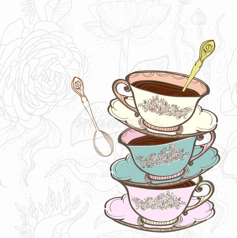 De kop bloemenachtergrond van de thee stock illustratie
