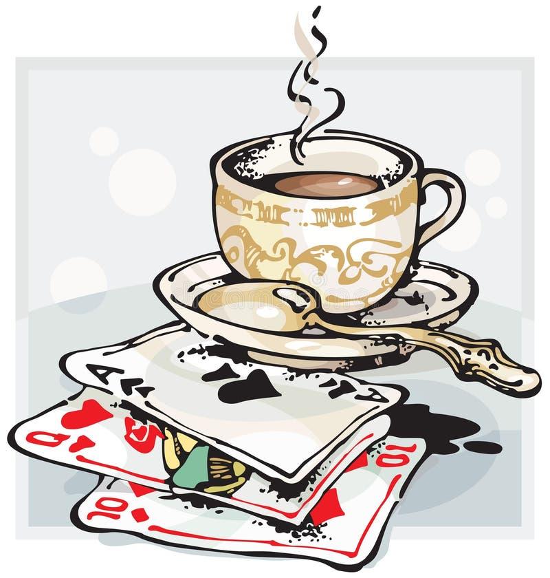 De Kop en de Speelkaarten van de koffie stock illustratie