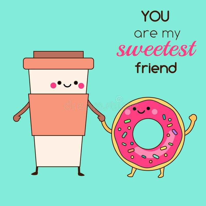 De kop en de doughnutholdingshanden van de beeldverhaalkoffie De leuke grappige voedselkarakters met typografie u zijn mijn zoets stock illustratie