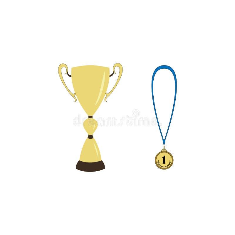 De Kop en de medaille van de sportwinnaar stock illustratie