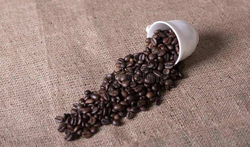 De kop giet koffiebonen op jute royalty-vrije stock fotografie