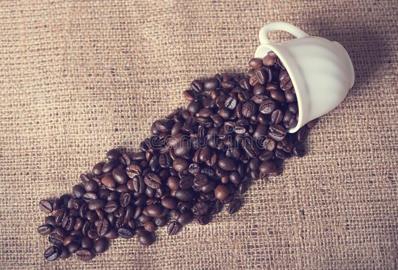 De kop giet koffiebonen op jute royalty-vrije stock foto