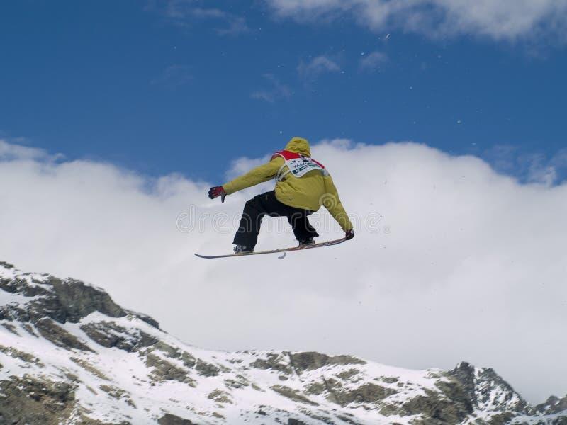 De kop grote lucht van de wereld snowboard stock foto