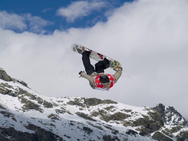 De kop grote lucht van de wereld snowboard royalty-vrije stock afbeelding