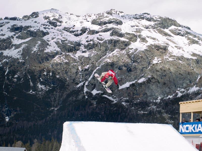 De kop grote lucht van de wereld snowboard stock fotografie