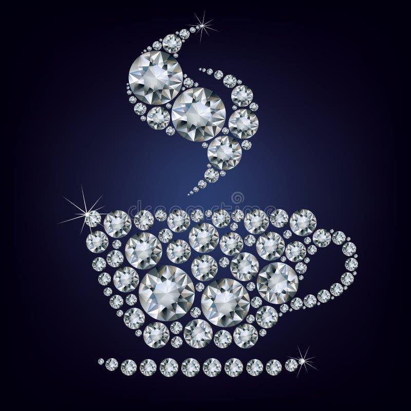 De kop maakte omhoog heel wat diamanten stock illustratie