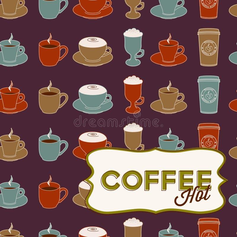 De kop naadloos patroon van de koffie met markering royalty-vrije illustratie