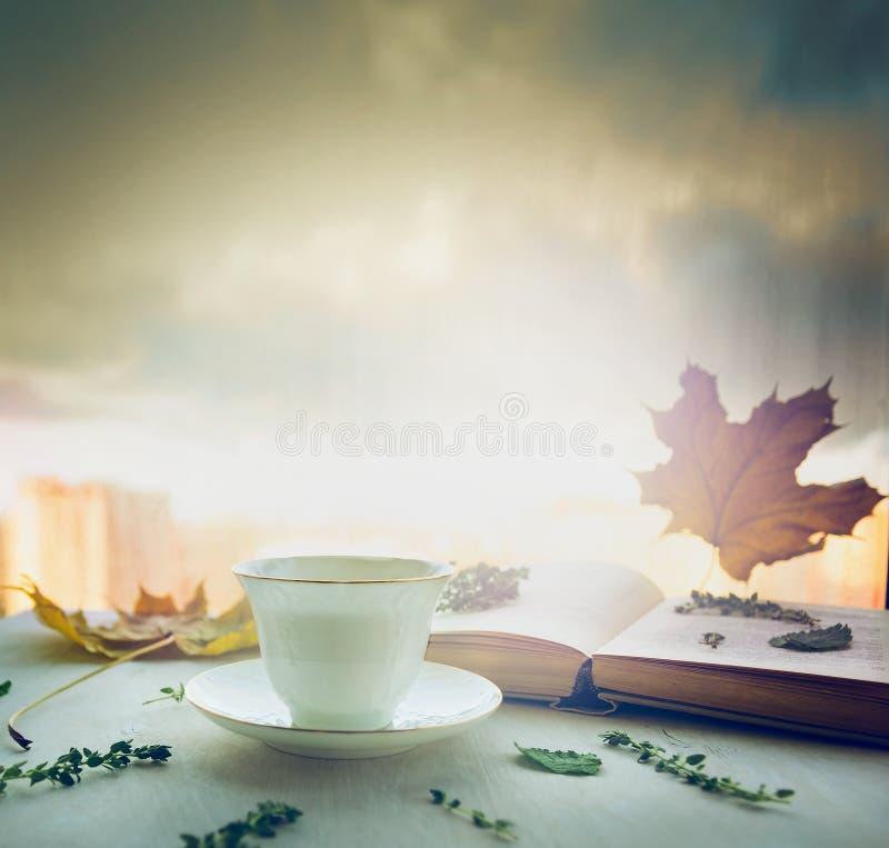 De kop thee op een schotel met thyme, de herfstbladeren en open boek op houten venstervensterbank op aard blured hemelachtergrond stock foto