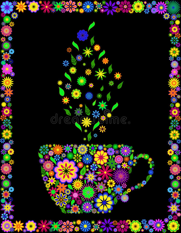 De kop thee van de bloem royalty-vrije illustratie