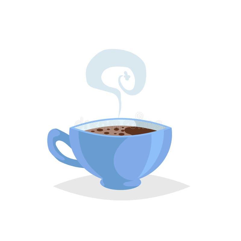 De kop van de beeldverhaalstijl met hete drank Koffie of Thee In decoratief ontwerp Groot voor koffiemenu Blauwe mok met stoom stock illustratie