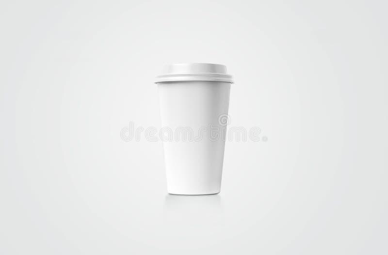 De Kop van Coffe Witboekkop met een dekking zonder etiket op achtergrond wordt geïsoleerd die Haal drank weg royalty-vrije illustratie