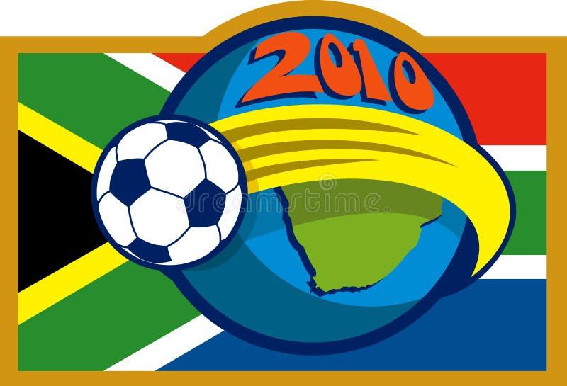 de kop van de het voetbalwereld van 2010 met vlag stock illustratie