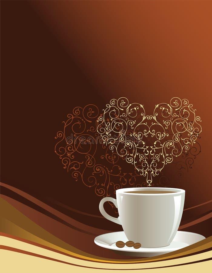 De kop van de koffie op een bruine achtergrond vector illustratie