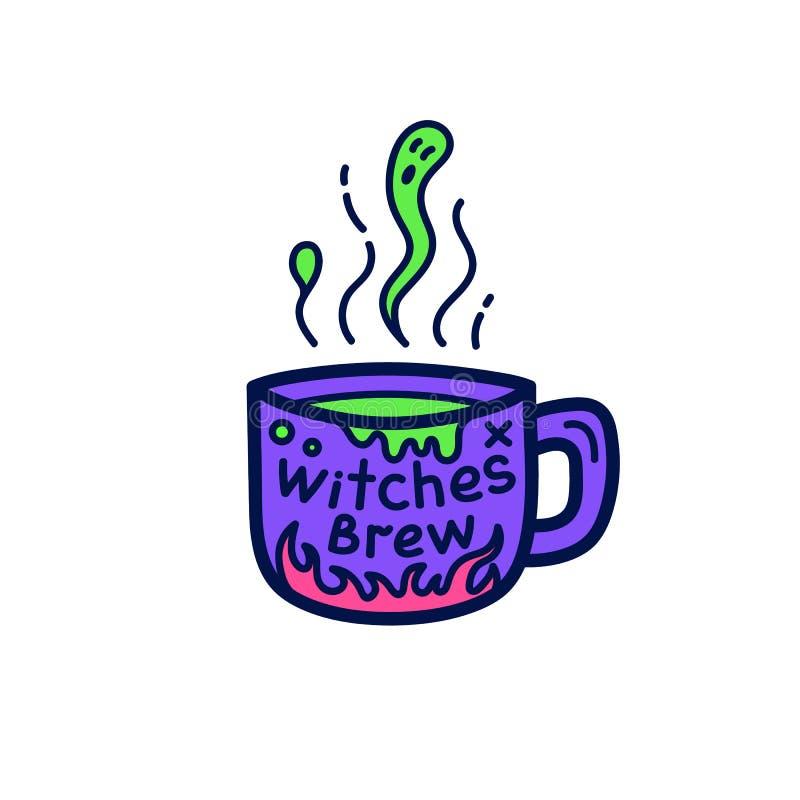 De kop van heks brouwt voor Halloween vector illustratie