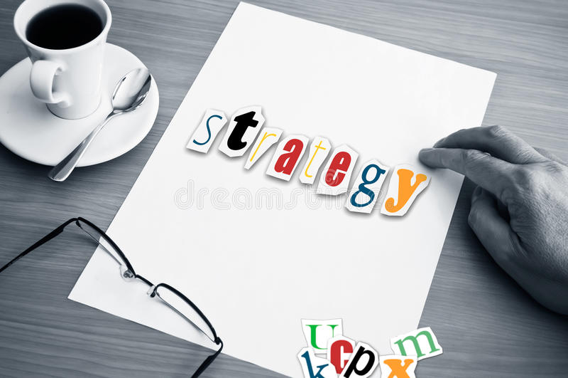 De kop van het conceptenbureau van koffie en woordstrategie stock illustratie