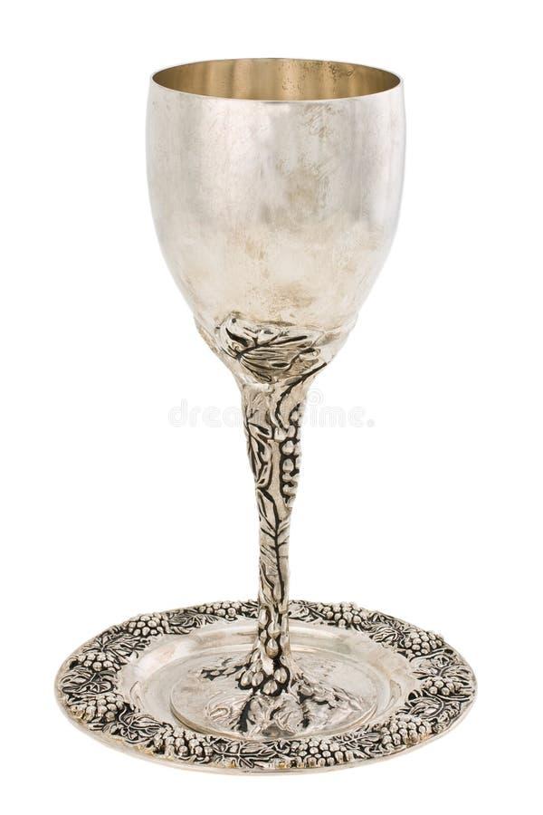 De kop van Kiddish met wijn stock foto