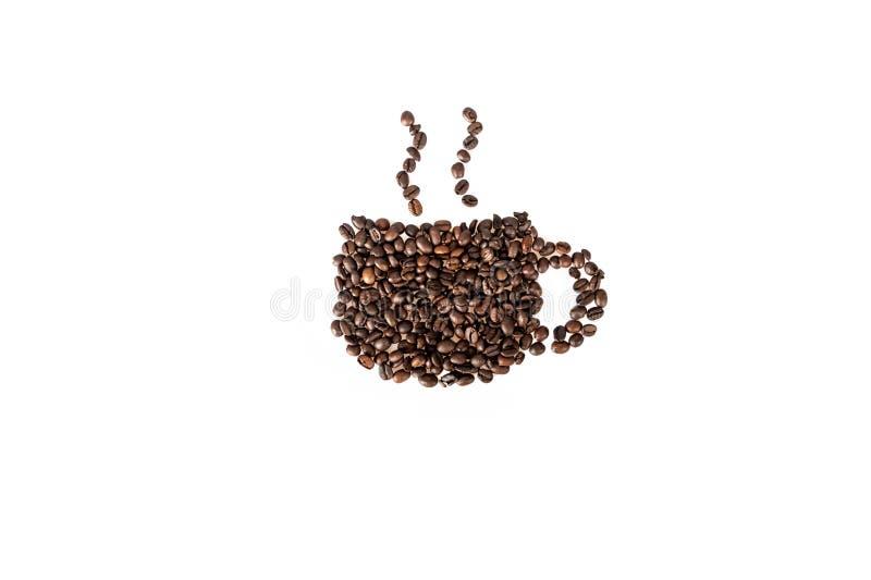 De kop van koffiebonen van koffie royalty-vrije stock foto