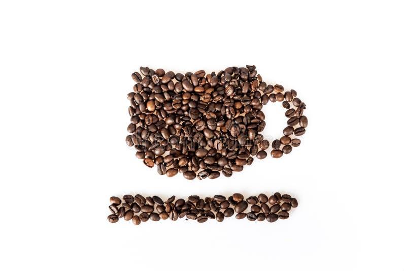 De kop van koffiebonen van koffie royalty-vrije stock foto's