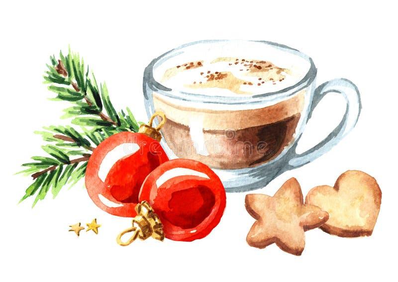 De kop van koffiecappuccino met Kerstmiskoekjes en de rode ballen met groene spar vertakken zich Waterverf hand getrokken illustr royalty-vrije illustratie