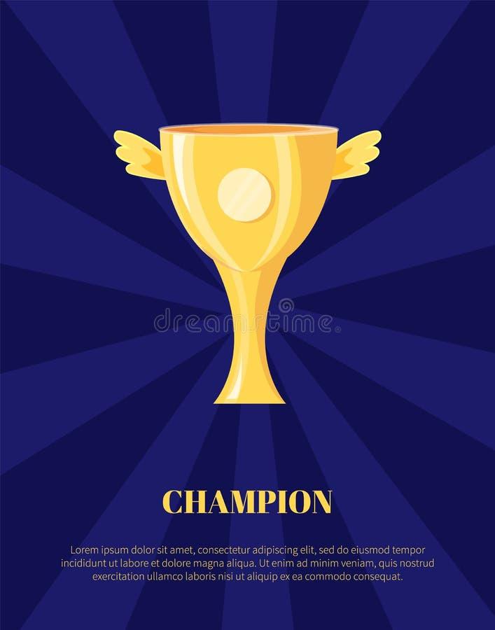De Kop Vectorillustratie van de kampioens Gouden Trofee vector illustratie