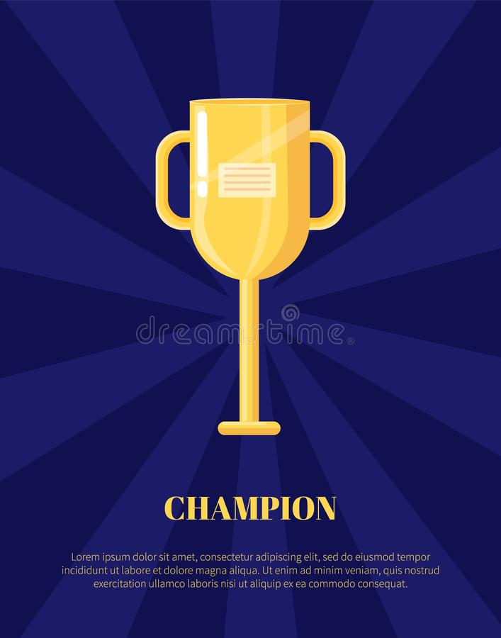 De Kop Vectorillustratie van de kampioens Gouden Trofee stock illustratie