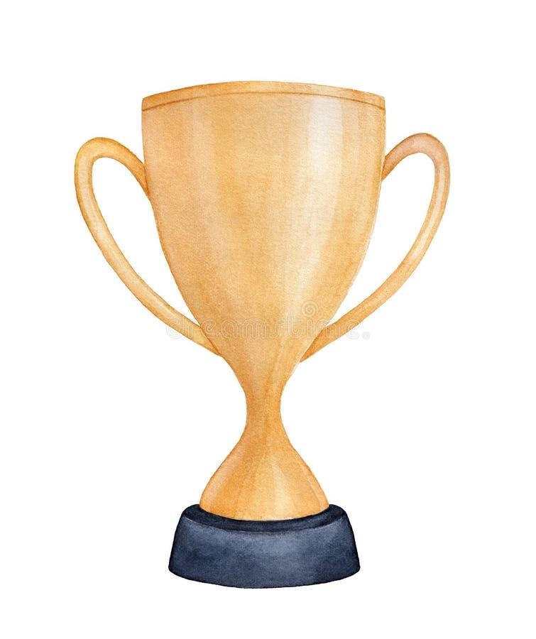 De kop watercolour schets van de kampioens gouden trofee stock illustratie