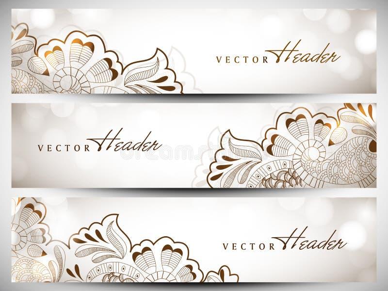 De kopbal of de bannerreeks van de website vector illustratie