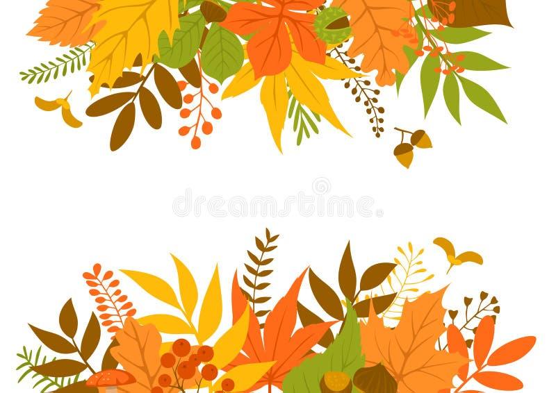 De kopbal en de grenskaderachtergrond van de herfstbladeren vector illustratie