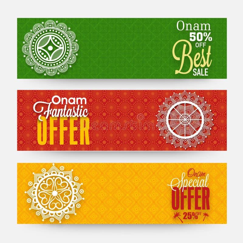 De kopbal van het verkoopweb voor Gelukkige Onam-viering wordt geplaatst die stock illustratie
