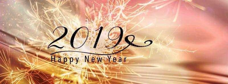 2019 de kopbal van de nieuwjaarbanner voor Sociale media stock afbeeldingen