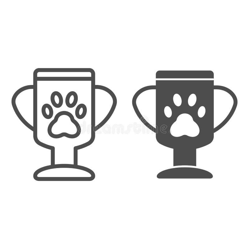 De koplijn en glyph pictogram van winnaarhuisdieren Dierlijke trofee vectordieillustratie op wit wordt geïsoleerd Het ontwerp van stock illustratie