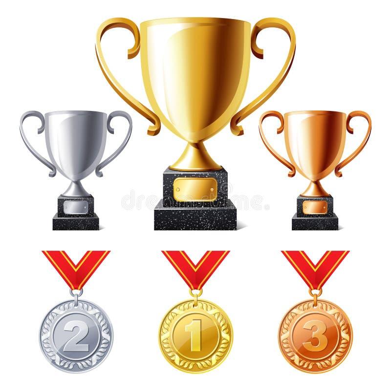 De koppen en de medailles van de trofee royalty-vrije illustratie