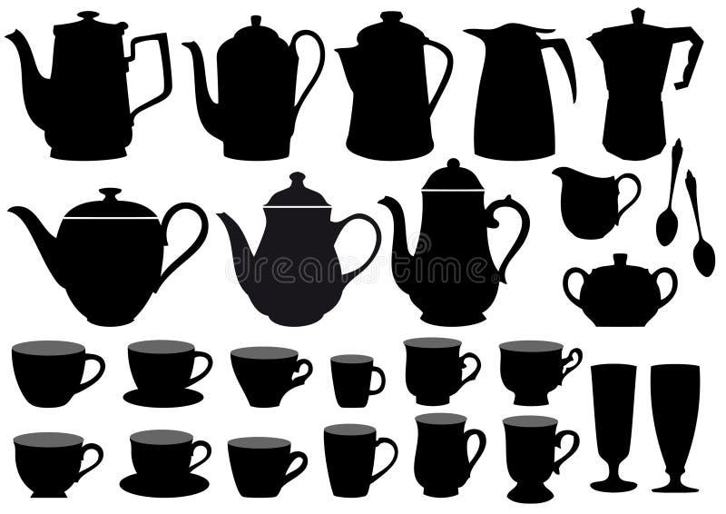 De koppen en de potten van de koffie,   vector illustratie