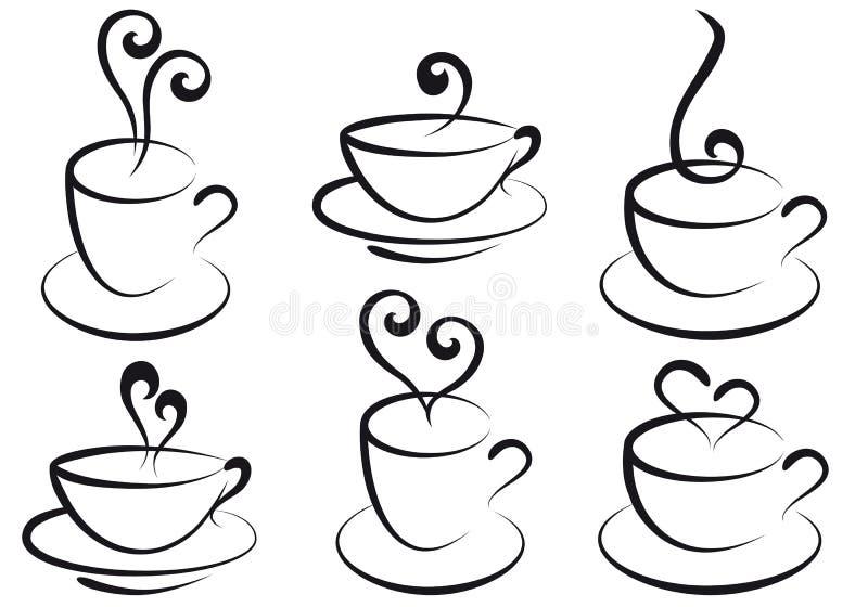 De koppen van de koffie en van de thee,