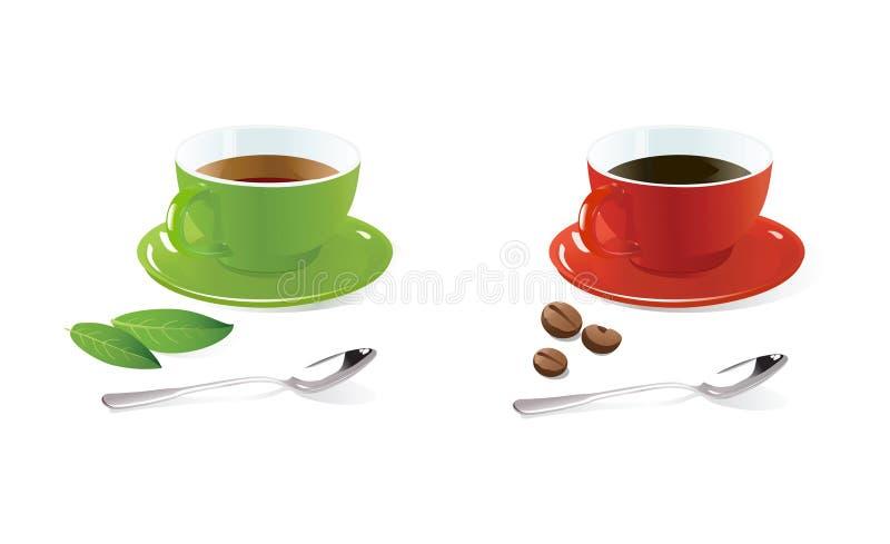 De koppen van de koffie en van de thee