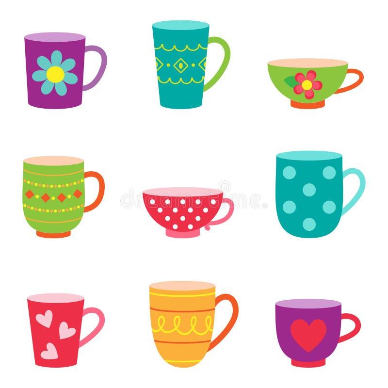 De koppen van de koffie en van de thee royalty-vrije illustratie